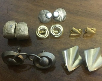Lot of 6 Metal clip on and screw on earrings.