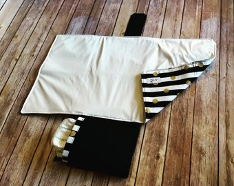 Black and White Stripes with Gold Dots Waterproof Changing Mat, Waterproof Travel Changing Pad, Diaper Changing Mat, Diaper Changing Pad