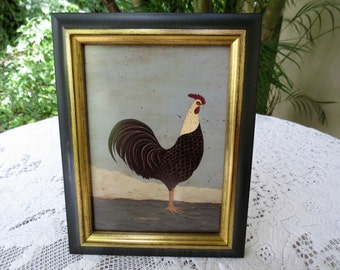 Folk Art Rooster by Warren Kimble - Professionally Framed Print