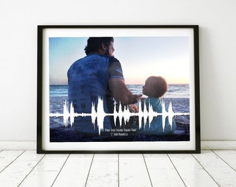 Personalized Photo Sound Wave Art on Canvas, Sound Wave Art Print, Custom Soundwave, Voice Art, Song Art, Sound Art, Personalized Picture
