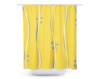 Yellow Shower Curtain, Gray Shower Curtain, Modern Shower Curtain, Striped Shower  Curtain,