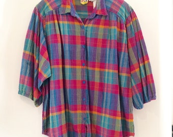 Vintage Women's madras plaid blouse, Indian cotton top, Madras plaid crinkle blouse (MW-165)