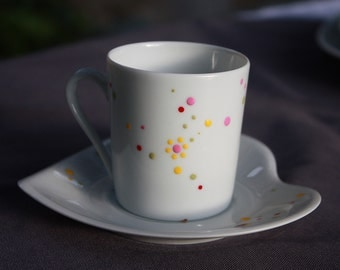Coffee Cup and saucer porcelain heart