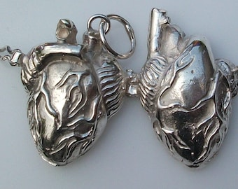 Anatomical heart reliquary locket sterling silver jewelry
