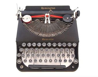 Remington Remette typewriter, 1939, American typewriter, grey, black, working typewriter, portable typewriter, remington rand.