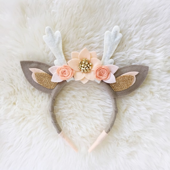Deer Antler Crown Headband Peaches And Cream Boho Felt