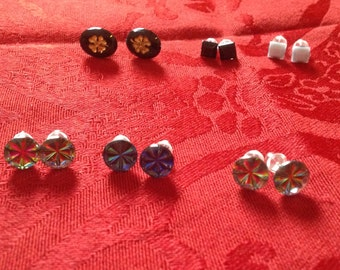 assorted post earrings with vintage glass tiles