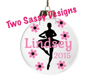 """Personalized Ballerina Glass Ornament, Personalized 3"""" Glass Ballerina Ornament, Personalized Glass Ornament, Custom Glass Ornament"""