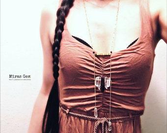 Purple and clear quartz long necklace