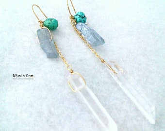 Real turquoise summer earrings