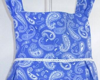 PENELOPE - Paisley Sundress - Size: 3T, Blue, White, Girls' Clothing, Dresses, Girl's Dress, Toddler, Gift, Birthday, Cotton, Handmade