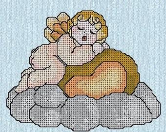 Angel above a cloud like thun cross stitch