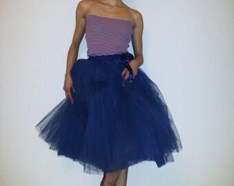 Tulle skirt petticoat Navy Blue