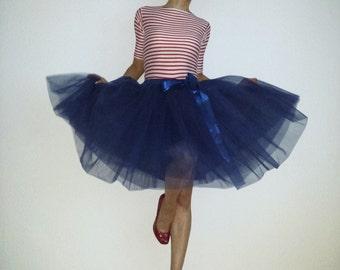 Tulle skirt petticoat marine 55 cm length skirt