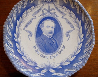 Antique National Health Insurance Act Plate 1912 David Lloyd George NHS