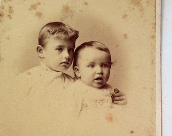Vintage Black and White Children Card Photo, Vintage Photo, Vintage Card Photo, Anitque Photo of Children, Vintage Sibling Card Photo