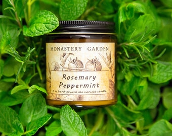 4 oz ROSEMARY PEPPERMINT Scented candle, soy candle, gift for vegan, all natural candle