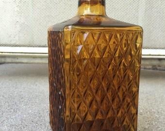 Vintage Mid Century Amber Glass Diamond Point Rectangular Whiskey Decanter with Cork