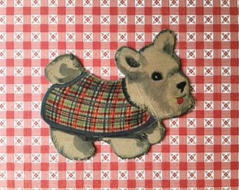 Cute Little Vintage Cardboard Paper Doll Dog Cut Out Wearing Little Coat