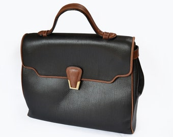 Italian Black Leather Handbag