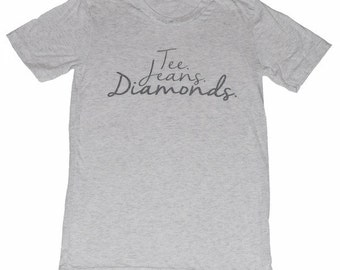 Tee Jeans Diamonds (Heather White Crew Neck)