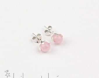 Rose quartz gemstone stud earrings 1, sterling silver 925