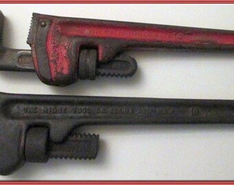 "Pipe Wrenches-TWO -Ridgid--18""  AND  Ridgid --14""/ Hand Tools/ Rustic/RIDGID tools /Home Improvement /Monkey Wrench / Rustic Decor /Man Cave"