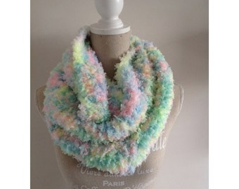 Shawl, hand knitted very soft kawaii infinity shawl.