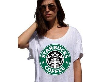 Starbucks - 80s Crop Top Ladies Watercolor Print Tshirt - Watercolor Painting sublimation image tshirt colorful designs