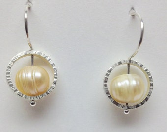 Sterling silver earrings with pink freshwater pearls
