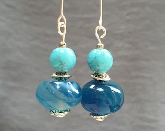 Beautiful blue and turquoise natural drop earrings