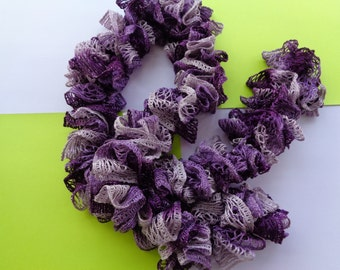Crocheted Ruffled Scarf in Shades of Purple / Frilly Scarf / Twistie Scarf / Boa Style Scarf