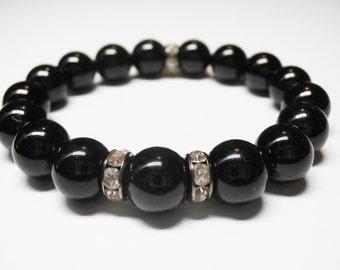 Black Tourmaline Bracelet-Tourmaline Bracelet-Protection Bracelet-Energy Bracelet-Root Chakra Bracelet-Spiritual Bracelet-FREE SHIPPING