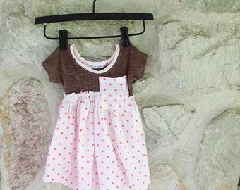 Baby dress girls polka dot stretchy pocket dress