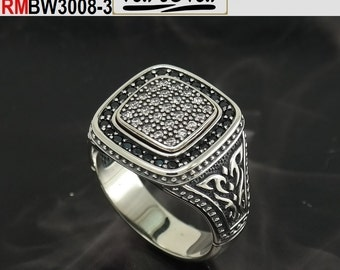 Men pave Ring byzantine + Gothic style with cubic zircon (RMBW 3008-3) (RMWB 3008-3)