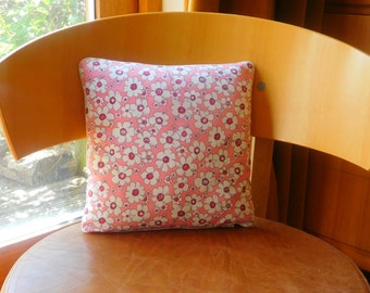 Pink and white floral cushion. Pink and white floral cushion for bedroom. Pretty pink and white floral cushion.