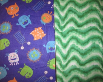 Fleece Tie Blanket-Monsters and Wavy Green, medium