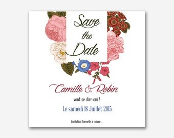Save the date – save the date wedding oldschool - floral - vintage