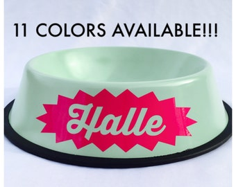Personalized Dog Bowl with Name in Starburst-Dog Bowls-Pink-Blue-Gold-Mint-Red-Purple-Black-Personalized Dog Dish-Personalized Pet Bowl