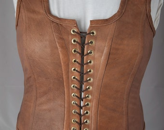 Leather corset, Custom made, 100% leather, Fully lined, Form fitting, Gift for her, Leather clothing, Unique corset, Overbust corset
