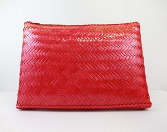 Vintage Pink Woven Clutch/Shoulder Purse w/ Strap
