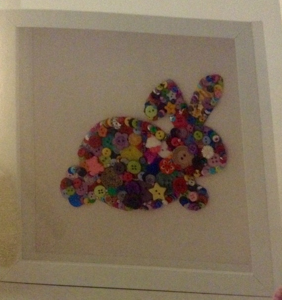 Button bunny box frame, perfect for a nursery or children's bedroom.