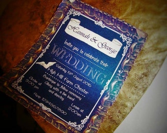 Shabby chic chalk board style wedding invitation scroll