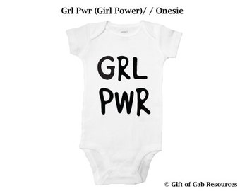 GRL PWR (Girl Power) hand painted - Onesie, Momma Shower, Smart Baby, Boho cute Baby, Hipster Baby, Non-toxic ink, Momma to be