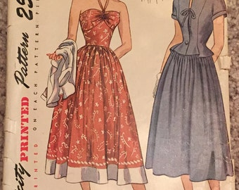 VINTAGE Simplicity Printed Pattern 2465 Size 14 Bust 32 Misses' One-Piece Sun Dress and Jacket