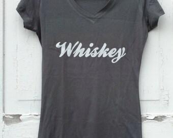 Whiskey Tee, Womens gray V-neck size medium