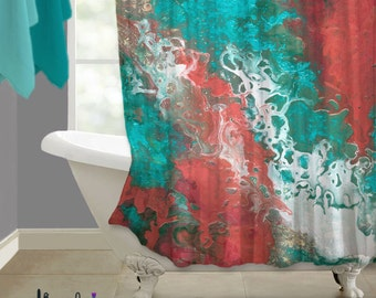 Red And Teal Shower Curtain red stripe aqua blue chevron shower