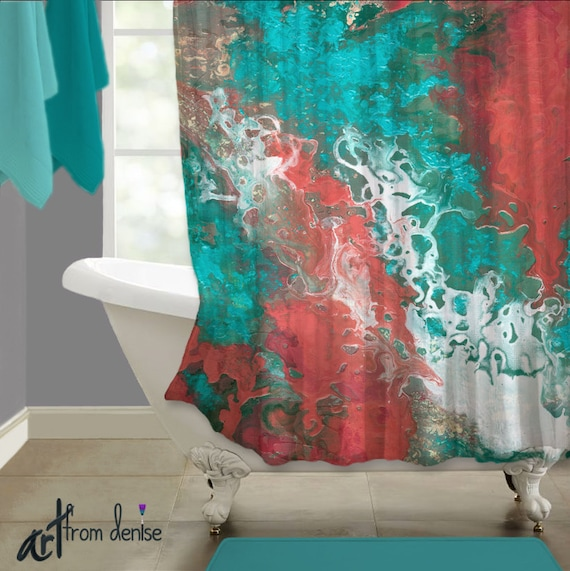 Seafoam Green Coral Teal Gray Aqua Abstract Shower Curtain