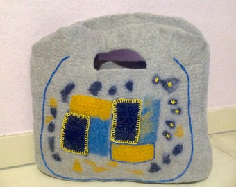 Bag, Hand bag, felted bag, patchwork bag, embroidery