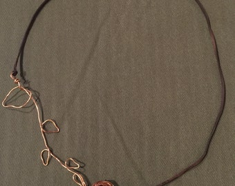 Copper Wire Nest on a Branch Necklace
